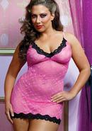 Sweetie Pie Chemise And Thong-pink Q/s