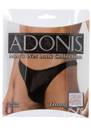 Adonis Mens Wet Look Collection Thong Black