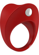 Ovo B11 Silicone Cock Ring Waterproof Red And Chrome