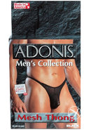 Adonis Mens Collection Mesh Thong Black