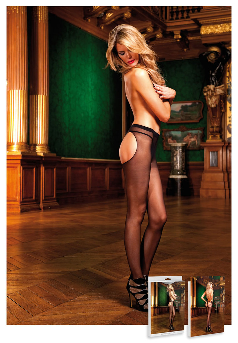 Sheer Thong Pantyhose Black (disc)