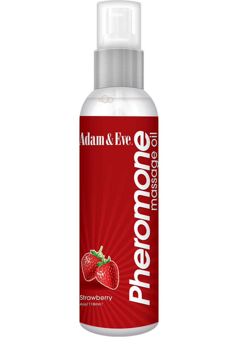 Adam And Eve Pheromone Massage Oil Strawberry 4 Ounce Bottle Spray