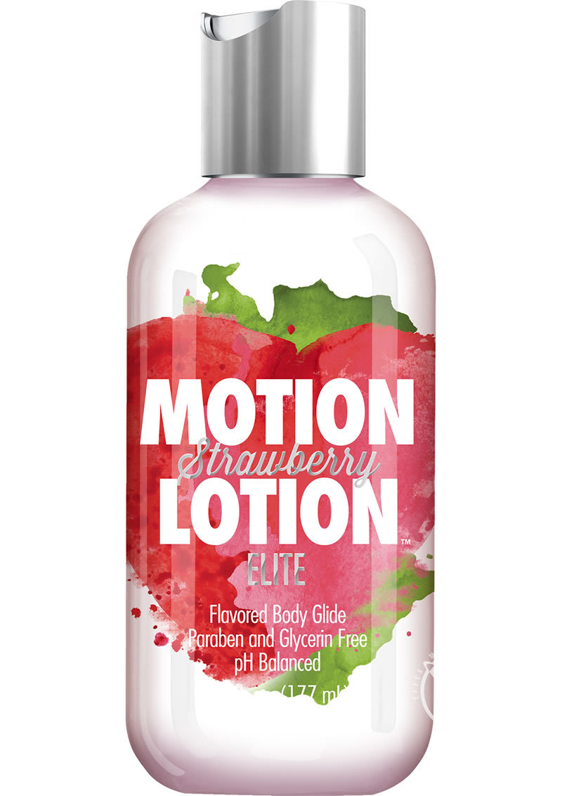Motion Lotion Elite Waterbased Flavored Body Glide Strawberry 6 Ounce Bottle